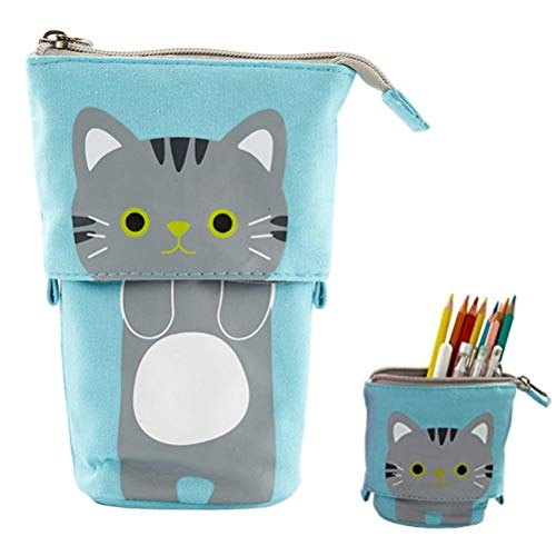 Pencil Case,Standing Pencil Holder Storage Bag,Cartoon Cute Animal Pencil Pouch Stationery Pen Case Box for Student College School