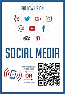 Like Us on Social Media - QR Code and NFC Tag - Two-Sided Social Media Storefront Window Decal - Custom Designed for Faceb...