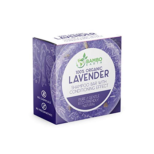Solid Shampoo Bar And Conditioner Effect Hair Soap – 100% Organic Shampoo Bars For Hair With All Natural Plant Based Essential Oils And Zero Waste Biodegradable Packaging (Lavender)