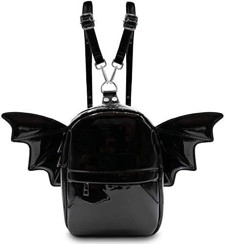 Women Fashion Mini Backpack Detachable Bat Angel Wing Shoulder Bag Black Patent product image