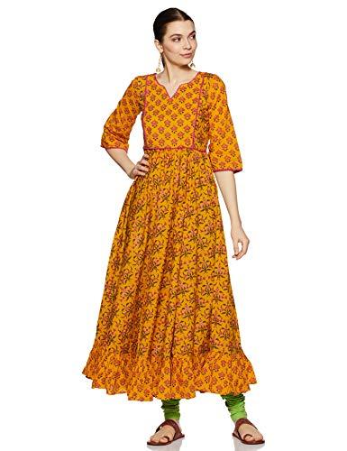 Libas Women's Cotton Anarkali Kurta (7338_Yellow_X-Large)