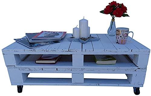 Mesa de palets para Jardin - Terraza, Patio, Salón, Interiores, Exteriores - Muebles con palets de Madera, Mobiliario Rustico (Blanco, 90 x 50 x 35)