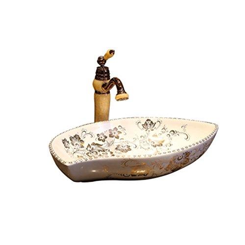 Créatif en forme d'Art au-dessus du bassin de comptoir bassin de lavage en céramique européenne bassin de lavabo (57x36x12cm) Meubles-lavabos