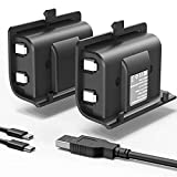 YCCSKY Rechargeable Xbox One Battery Pack, 2 Pack 1200mAh Xbox One Controller Battery Pack Play and Charge Kit for Xbox One S/X/Elite Controller with 3FT Micro USB Charging Cable and LED Indicator