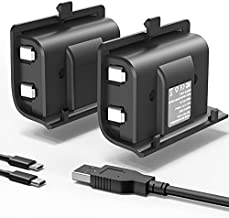 Rechargeable Xbox One Battery Pack, YCCSKY 2 Pack 1200mAh Xbox One Controller Battery Pack Play and Charge Kit for Xbox One S/X/Elite Controller with 3FT Micro USB Charging Cable and LED Indicator