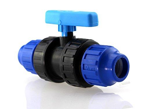 PP-Kugelhahn mit beidseitiger Klemmverschraubung für PE-Rohre, 25 x 25 mm, PN 16 bar, DVGW zertifiziert