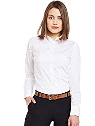 Lamode Ladies Solid White Formal Shirt 396