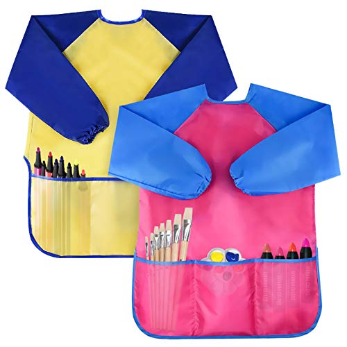 Bassion Pack of 2 Kids Art Smocks, Children Waterproof Artist Painting Aprons Long Sleeve with 3 Pockets for Age 2-6 Years Gifts
