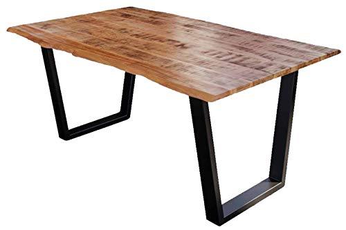SAM Esstisch Dora 160 x 85 cm, Mangoholz massiv, lackiert & naturfarben, Baumkantentisch mit V-Metallgestell in Mattschwarz, echte Baumkante, 26 mm