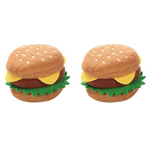 B Blesiya Plüsch Hamburger Hundespielzeug mit Quietscher für kleine und große Hunde - 2 Stück
