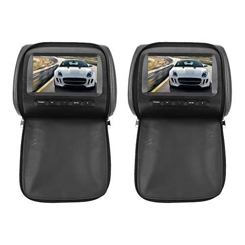 Reposacabezas LCD Player-2pcs 7 en 16: 9 Reposacabezas ajustable LCD Reproductor con cubierta de cremallera Control inalámbrico Pantalla MP5 Bl-Angle - Abrazadera de sujeción ajustable