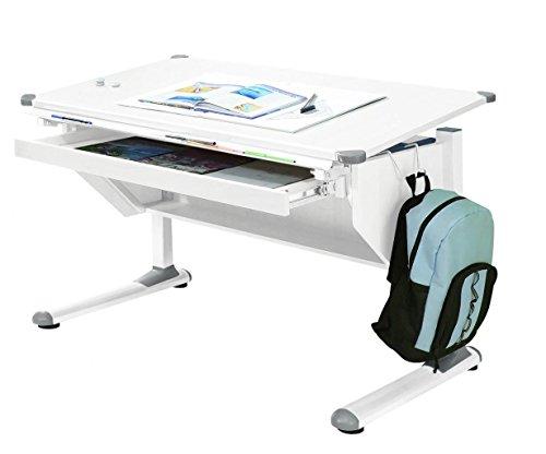 MSZ Design Kinderschreibtisch Schülerschreibtisch Variant weiß verstellbar mit Schublade und...
