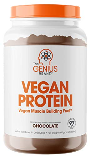 Genius Vegan Protein Powder – Plant Based Lean Muscle Building Shake | Best Pea + Pumpkin Protein Sources – Ideal Lean Body Shake for Men & Women – All in One Nutritional Sport Drink (Dairy Free)