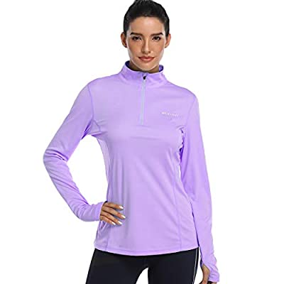 HISKYWIN Womens UPF 50+ Sun Protection Tops Long Sleeve Half-Zip Thumb Hole Outdoor Performance Workout Shirt HF806 Light Purple L
