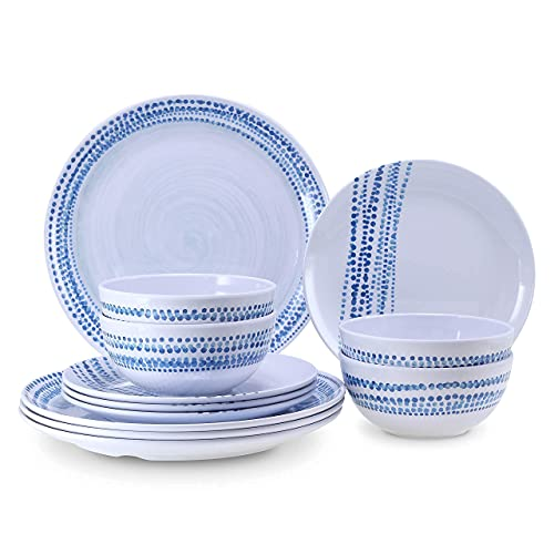 Melamine Dinnerware Sets for 4, Dinnerware sets, Plates and Bowls Sets Lightweight Unbreakable Dishwasher Safety BPA free