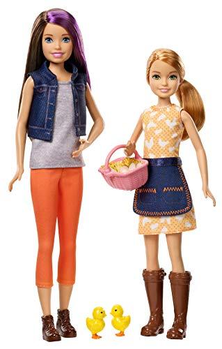 Barbie GCK85 Sweet Orchard Farm Set de Juego con 2 muñecas, Skipper Doll y Stacie Doll, con 2 Pollitos y Cesta de Huevos, Regalo para niños de 3 a 7 años