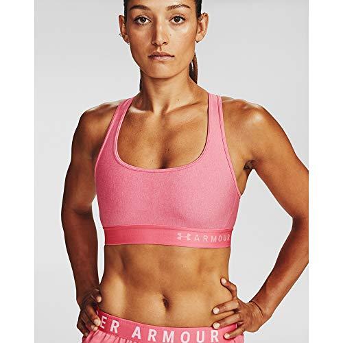 Under Armour Women's Threadborne Heathered Sports Bra, Pink Lemonade Light Heather (668)/Pink Lemonade, Small