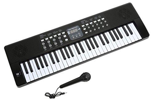 Axman LP5450 Keyboard/Tastiera, Compreso il Microfono e Connettore di Alimentazione, 54 Chiavi, Funzionare con la Batteria Non Inclusa, Nero