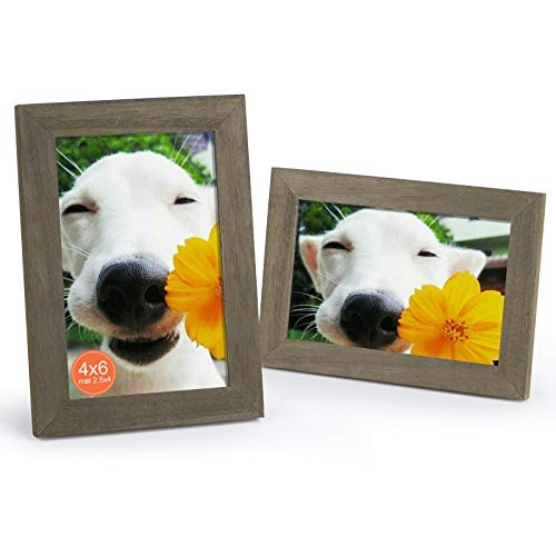 DLQuarts 4x6 Wood Picture Photo Frame, for Tabletop and Wall Mount, 2-Pack, 2.5x4 with Mat or 4x6 Without Mat Weathered Green