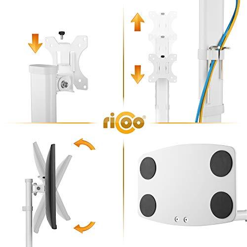 RICOO TS6811 Support PC écran 12-32 Pouces (30-81cm) Orientable Inclinable Hauteur réglable Support sur Pied Moniteur PC VESA 100x100 Blanc