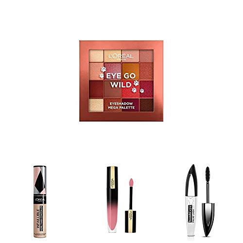 L'Oreal Paris Make-up Designer Palette de Sombras + Máscara de pestañas Negro + Pintalabios líquido Rosa Claro + Corrector Cobertura Completa 324 Oatmeal/Avoine