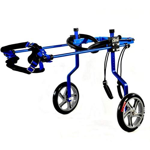 Sedia A Rotelle per Animali Domestici Regolabile, 2 Ruote Carrello per Cani con Sedia A Rotelle per Cani Blu, per Supporto per Gambe di Cani per Disabili (M-XXL 9-60 kg)
