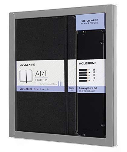 Moleskine - Art Collection Sketching Kit, Cuaderno para Bocetos con Tapa Dura y Cierre Elástico, Papel Adecuado para Lápices y Pinturas, Negro, Grande 13 x 21 cm, 104 Páginas