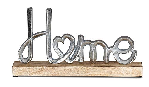 levandeo Aufsteller Mango Schriftzug Home H17cm Metall Holz Deko Mangoholz Tischdeko Wohndekoration