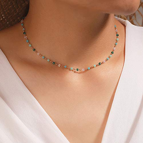 Asphire Bohemian Beaded Choker Necklace Dainty Green Cubic Crystal Necklace Boho Summer Beach Jewelry Prom Party Festival Gift for Women Teens Girls