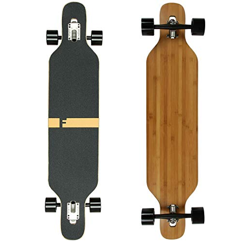 FunTomia Longboard Skateboard Drop Through Cruiser Komplettboard mit Mach1 High Speed Kugellager T-Tool mit und ohne LED Rollen (Mod. Camber - Bambus Blanko)