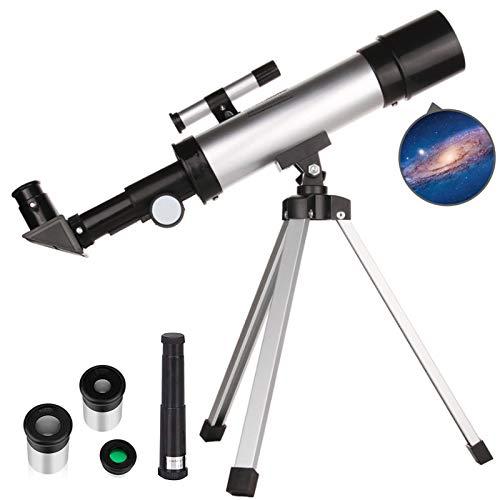 TZUTOGETHER Telescopio para niños Principiantes con trípode liviano,telescopio Refractor astronómico,Reflector de Ciencia educativa,90°Espejo cenit & 2 oculares,para observar Estrellas y Luna