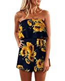 SUNNYME Women's Rompers Floral Off Shoulder Casual Summer Strapless Ruffle Short Jumpsuits C-Navy Small