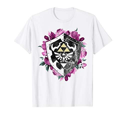 Nintendo Legend Of Zelda Tri Force Floral Shield T-Shirt