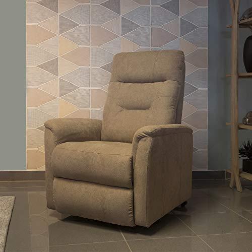 Homely Sillón Relax tapizado en Tela de Lino Piedra Beige con Motor