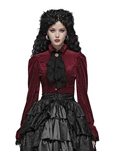 Punk Rave Damen Gothic Dark Grain Velvet Shirt Slim Fit Verstellbarer Riemen Elastische Manschetten Elegante Party Bluse Tops Langarm Rot M