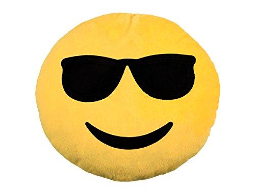 TrendandStylez Emoticon Emoji-Con Lach Smiley Kissen Dekokissen Stuhlkissen Sitzkissen gelb rund (Cool - 04)