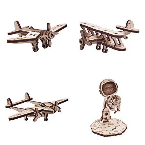 Wood Trick Set of Mini Planes 3D Puzzles and Astronaut - 3D Wooden Puzzle - Great STEM Project for Beginners