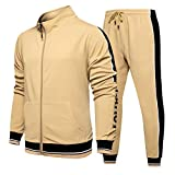 BAAFG Chándal Informal para Hombre Manga Larga Corriendo Jogging Athletic Sports Set Khaki-XXL