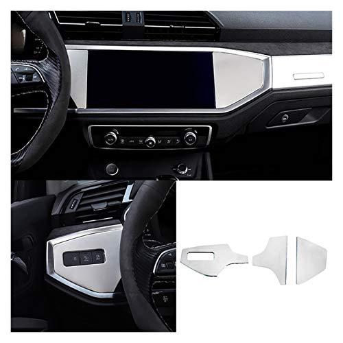 POLKMN 3 unids/Set Accesorios de Acero Inoxidable Accesorios para automóvil para Audi Q3 2019 2020 Dashboard del Coche Decoración Cubierta de decoración Pegatinas de Ajuste Estilo de automóvil