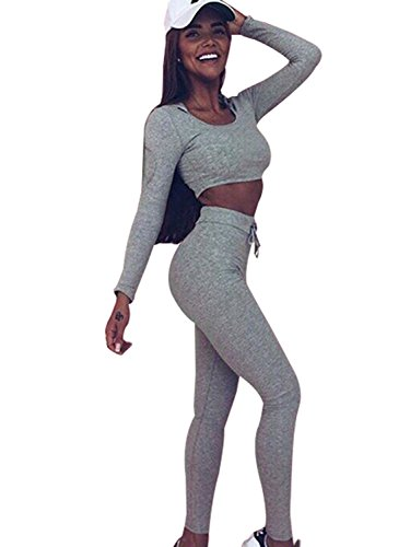 Minetom Damen 2 Stücke Set Outfit Sport Yoga Fitness Bodycon Slim Jogginganzug U-Ausschnitt Langarmhemd Jumpsuit Crop Top + Leggings Grau DE 36