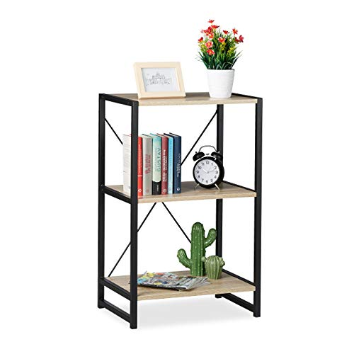 Relaxdays Standregal, Regal Industrial, niedriges Bücherregal mit 3 Fächern, HxBxT: 80 x 50 x 35...