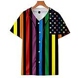 INSTO Lgbt Rainbow T-Shirt con Scollo a V Unisex Gay Bisessuale Lesbiche Pride Color Stampato Camicie da Baseball Tops Magliette Tops,H,M