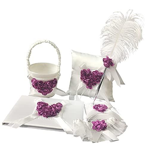 FKSDHDG Juego de 5 libros de invitados y bolígrafos de boda + cesta de flores + almohada de anillo + liga (color C:
