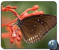 赤い花の黒と白の蝶カスタマイズされたマウスパッド長方形マウスパッドゲーミングマウスマット