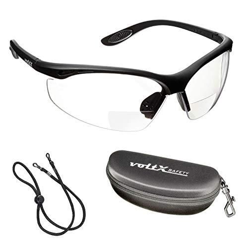 voltX \'Constructor\' BIFOKALE Schutzbrille mit Lesehilfe (KLAR 1.5 Dioptrie) CE EN166F Zertifiziert/Sportbrille für Radler enthält Sicherheitsband Sicherheitsetui mit steifem Clamshell Verschluss, Anti-Fog UV400 Linse