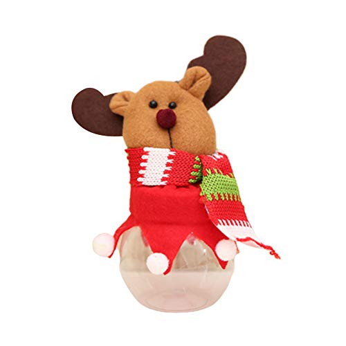 Ordertown Weihnachtsart-Süßigkeits-Glas-Kasten, Netter Weihnachtsschneemann-Sankt-Stoff-Puppen-Dekor-runder Süßigkeits-Aufbewahrungsbehälter-Glas-Keks-Behälter Hirsch#