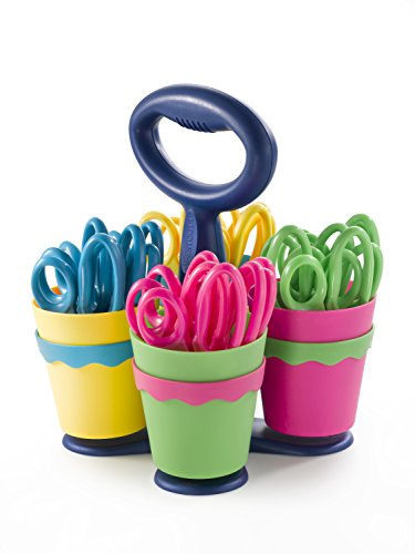 """Westcott School Scissor Caddy and Kids Scissors With Microban, 24 Scissors and 1 Caddy, 5"""" Pointed, Blue"""