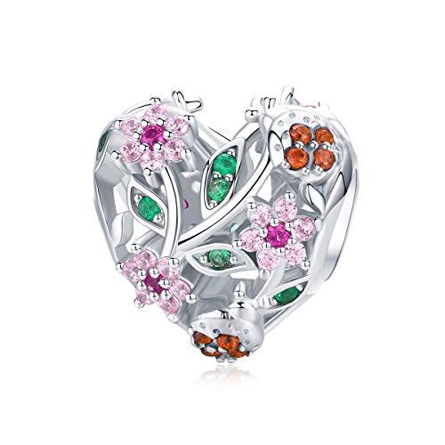 Abalorio de plata de ley 925, diseño de flores, color rosa, compatible...