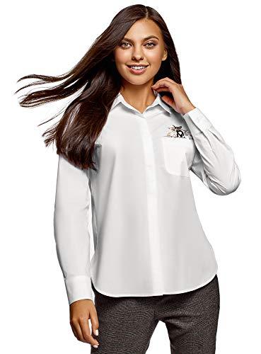 oodji Ultra Mujer Camisa de Algodón con Bordado, Blanco, ES 36 / XS