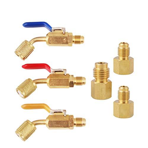 Domilay VáLvula de Bola Compacta en áNgulo de Refrigerante de Aire Acondicionado de 6 Piezas 1/4 Pulgadas para R410A R134A R12 R22 AC HVAC y R12 R22